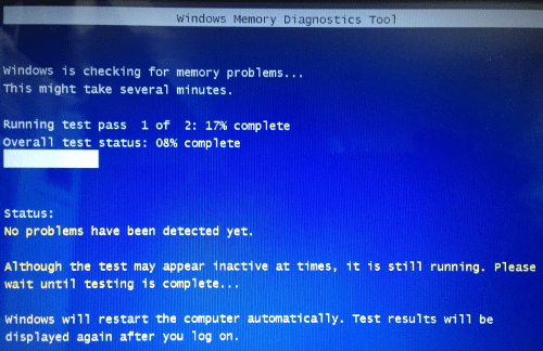 Windows Memory Diagnostic Tool running a test
