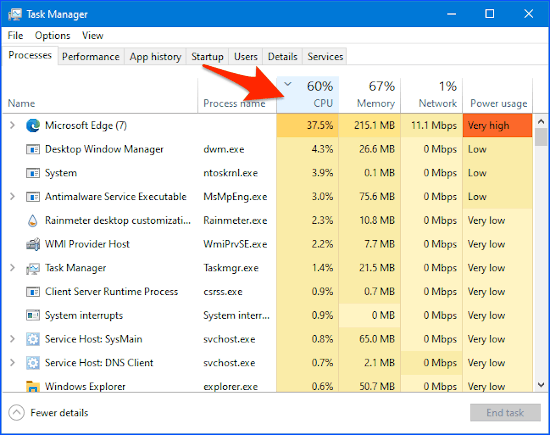 Windows Task Manager with processes sorted by CPU usage
