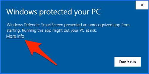 windows installation warning