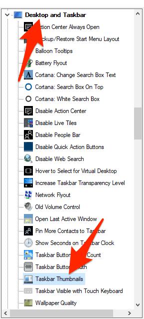 taskbar thumbnails section in winaero tweaker