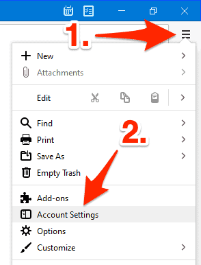 an arrow pointing to the Menu button in the Thunderbird Mail Toolbar