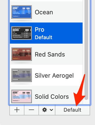 an arrow pointing to a button titled Default
