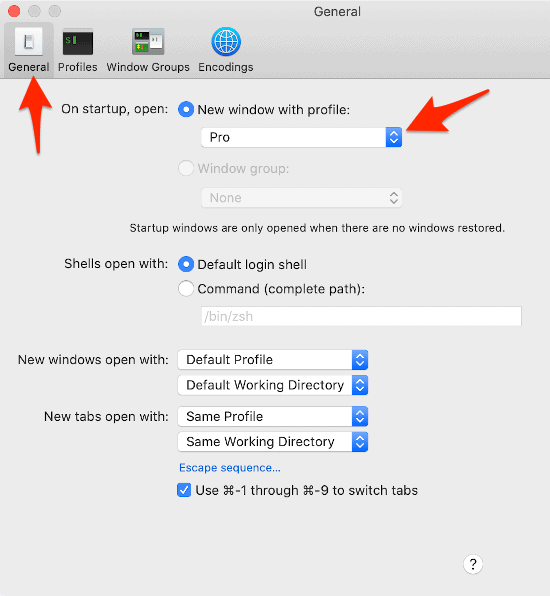 the General section of the Terminal Preferences