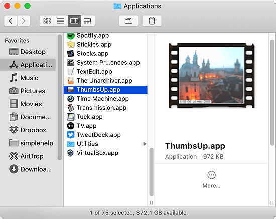 ThumbsUp resize images in a Finder window