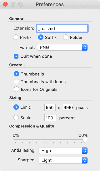 ThumbsUp Preferences panel