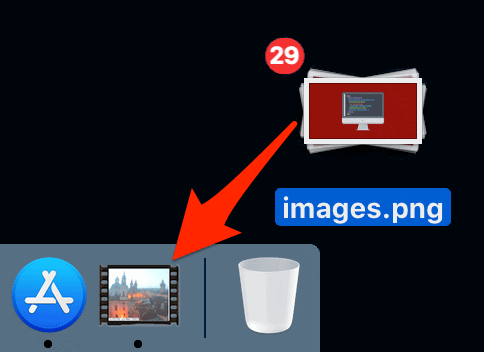 dragging images onto the ThumbsUp icon in the macOS Dock