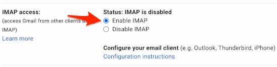 the Gmail enable IMAP section of the Settings