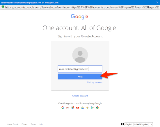 a google authorization page prompt