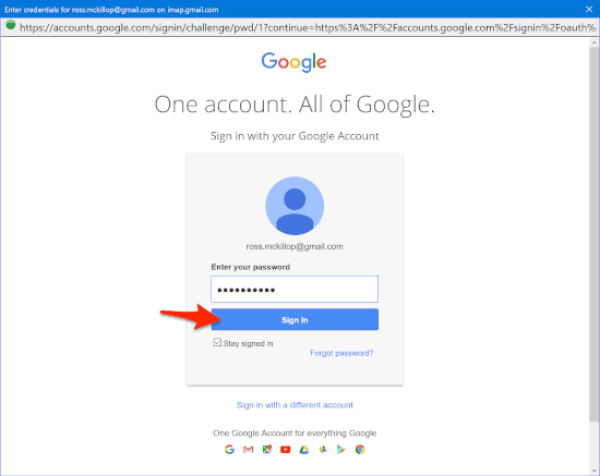 a google authorization page password prompt