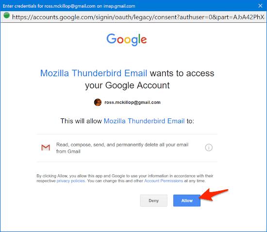 granting Thunderbird permission to Gmail