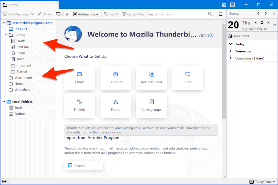 thunderbird downloading gmail messages