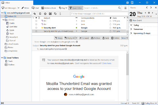 an email message displayed in Thunderbird