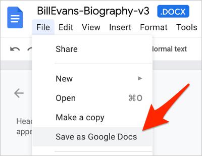 the File menu in Google Docs