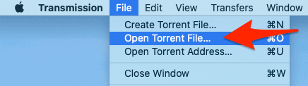 the macOS menu bar with an arrow pointing to Open Torrent File