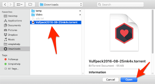 a Finder window with an arrow pointing to a .torrent file