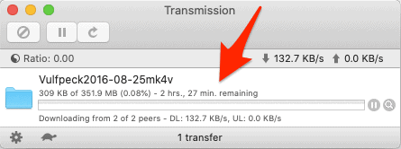 the main Transmission app with a torrent downloading