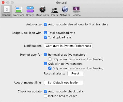 the General tab of the Transmission app Preferences