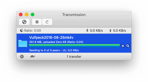 Transmission with a finished bittorrent download