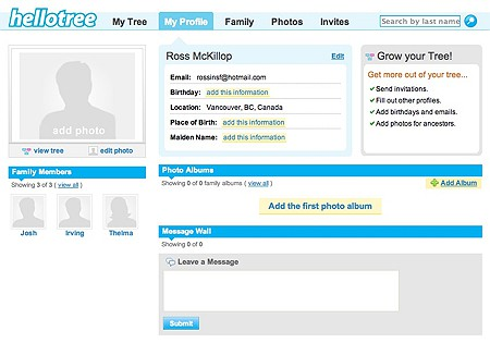 profile section of hellotree