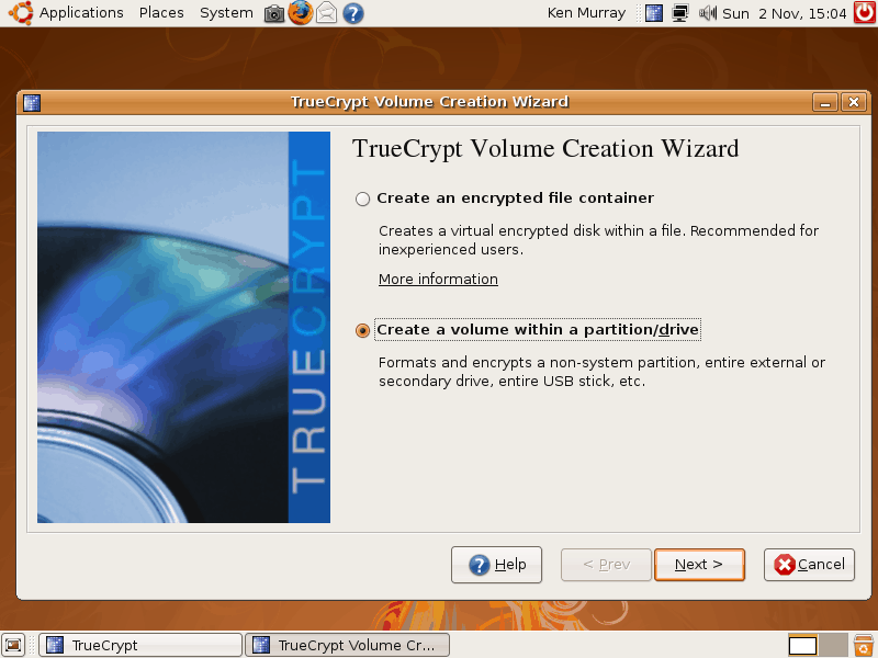Программа шифрования данных TrueCrypt.