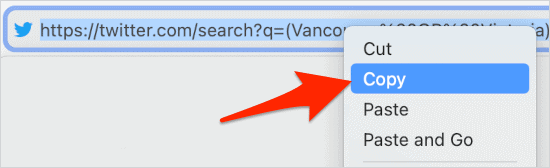 copying a URL from a browser address bar