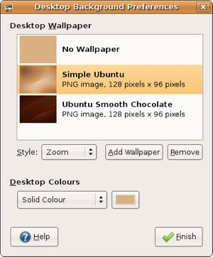 change the wallpaper in Ubuntu
