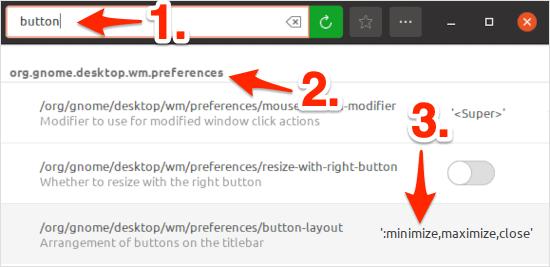 move the Ubuntu minimize maximize and close buttons