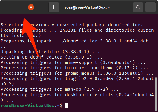 an Ubuntu Terminal with the buttons on the other side