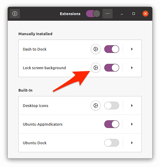 the Ubuntu Extensions app with an arrow pointing to a Settings button that looks like a gear