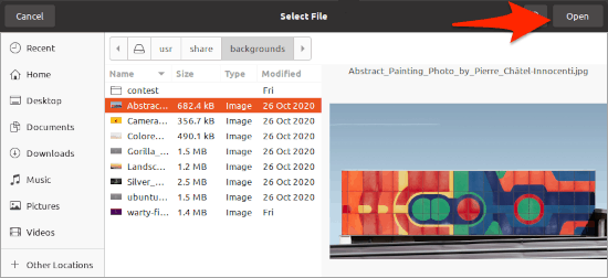 selecting an image to change the Ubuntu login screen