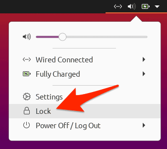 the Ubuntu System menu with an arrow pointing to the Lock option
