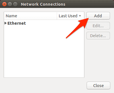 Networking Connections window in Ubuntu