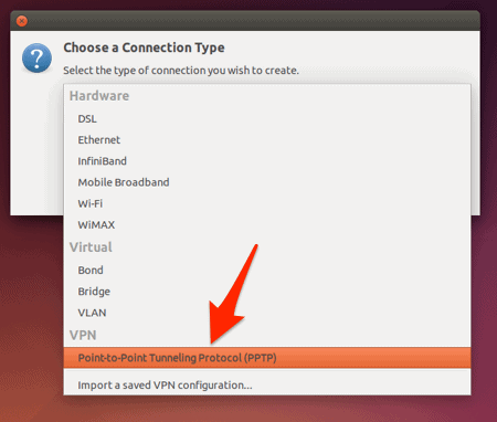 PPTP highlighted from the connection type drop down menu in ubuntu