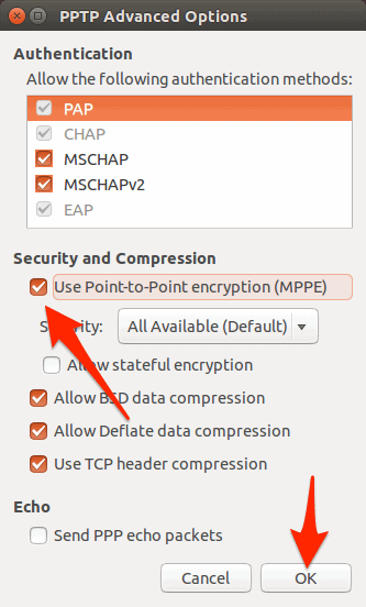 Advanced options for the VPN configuration screen in Ubuntu