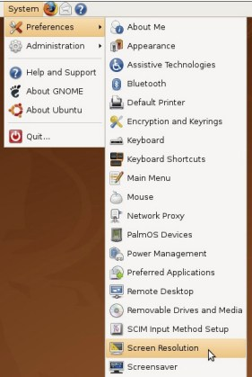 navigate to the screen resolution section of ubuntu