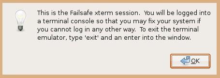 ubuntu failsafe terminal message