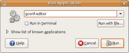 ubuntu run dialog box