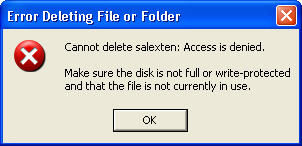 error deleting file or folder