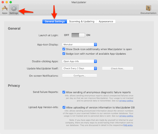 keep mac apps updated settings window