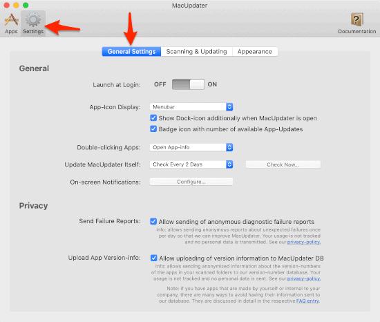 keep mac apps updated settings window