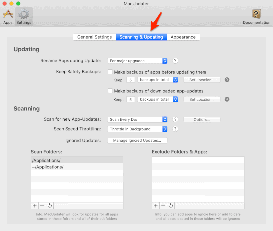 MacUpdater Scan and update the settings window