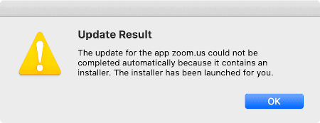 a warning message about keeping Mac apps up to date