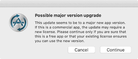 a second warning message in MacUpdater