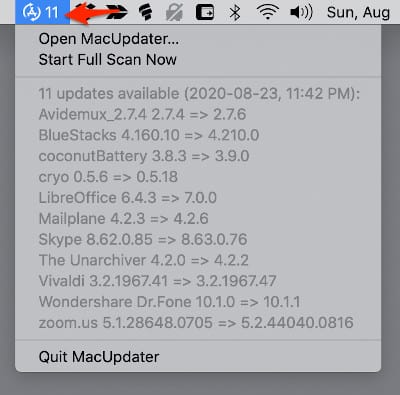the MacUpdater app in the Mac Menu Bar