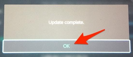 Joy-Con update complete message