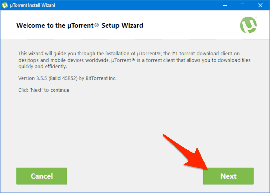 the uTorrent installation wizard opening screen
