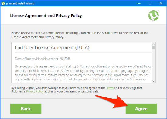 the uTorrent EULA