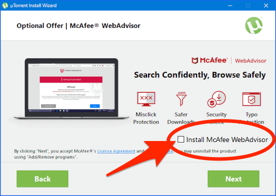 the Install McAfee WebAdvisor section of the uTorrent installer