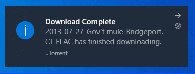 a Windows notification alterting a completed download