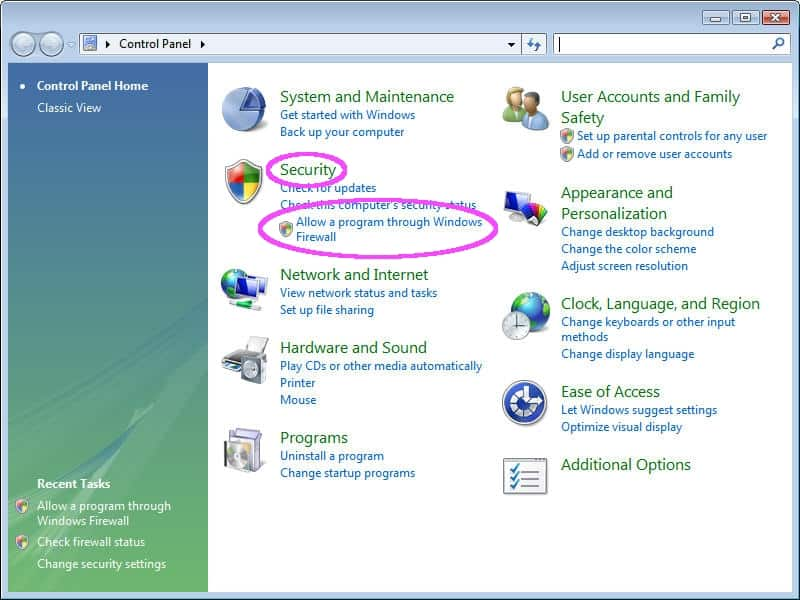 block application in firewall windows 7